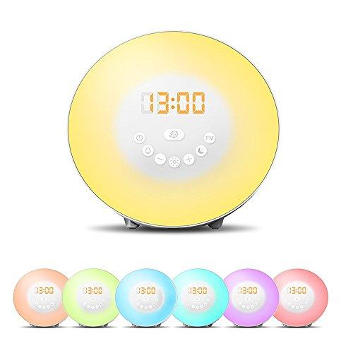 JJcall Wecker LED Wake-Up Licht Tageslichtwecker, Natürliches Aufwachen mit Licht, Touchscreen, sanfte Wecktöne, 6 Lichtfarben, digitales FM Radio (weiß)