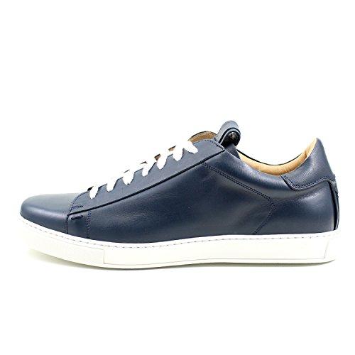 GIORGIO REA Sneakers Chaussures Sneackers Homme Bleu Fait à la Main en Italie, Single Boucle, Brogues, Mocassins, Boucles, Élégant, Haute Couture