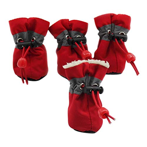 AMURAO Winter Pet Schuhe rutschfeste wasserdichte kleine Hunderegen Schnee Stiefel Dicke warme Schuhe Welpen Socken -