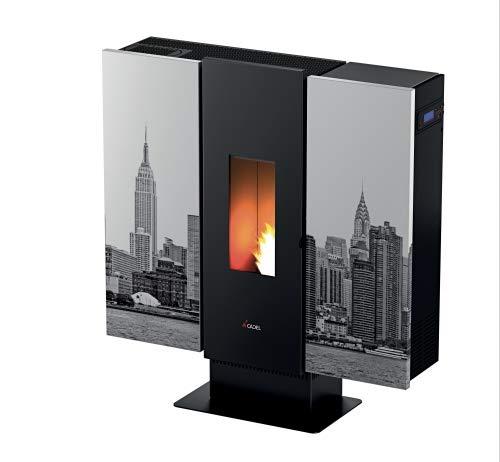 CADEL Wall Plus Pelletofen 10 kW Pellet Ofen Wall-Metall-New York Day