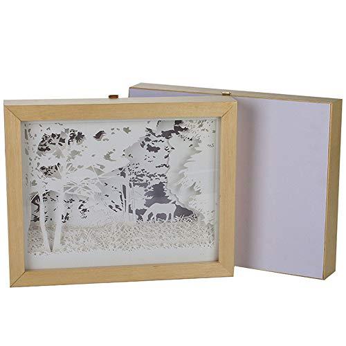 Mr.Fragile Paper-Cut Light Box,3D Silhouette Geschnitzter Tisch Lampe Nachtdekoration, Warme Romantik Atmosphäre