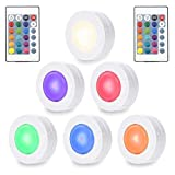 Litake Wireless Under Cabinet Lighting, RGB Color Changing Puck Closet Party Wardrobe Cupboard Lights Remote Control Multicolor Battery Powered Night Light,6 Pack