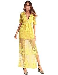 Vestido largo de fiesta floral con cuello en V y manga larga de encaje  casual Ruiyige a53b295f6eec