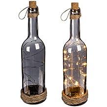 OOTB Botella de Cristal Ahumado con 10 Luces LED Blancas, tapón de Corcho & Cinta