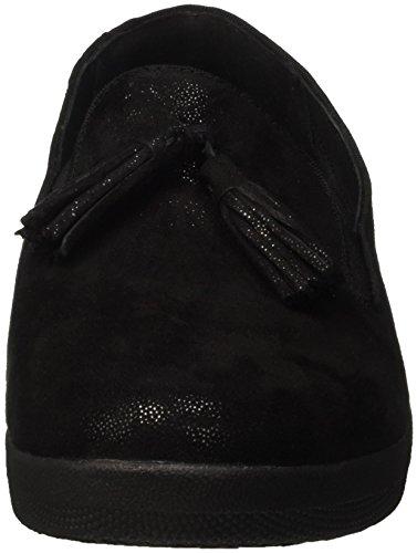 Fitflop Tassel Superskate Tm, Drap-de-bonnets Écossais Donna Nero (black Glimmer)