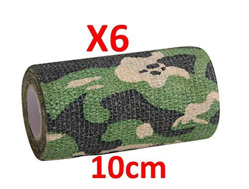 Keine schlechte Haftung mehr. Camouflage-Muster-Bandage, selbsthaftend, 6 Rollen x 10 cm x 4,5 m, selbstklebende flexible Bandagen, Erste-Hilfe-Sport-Verbandagen Perfekt für die Jagd