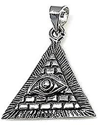 Colgante plata Ley 925m oxidado ojo Horus pirámide amuleto [AB1623]