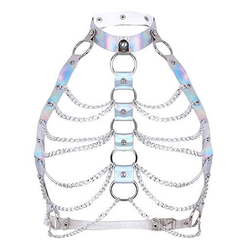 CHICTRY Damen Gothic Kostüm Punk Körpergeschirr Brust Harness Wetlook Oberteile mit Leder Halsband und Metallic Kette Quaste Silber One Size