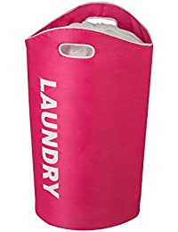 Honey-Can-Do HMP-03545 Laundry Bin Tote With Drawstring And Handles, 23 By 14 By 26.8-Inch, Pink