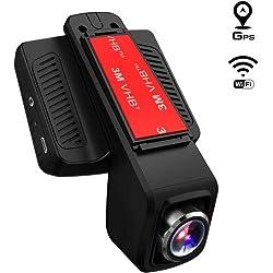 TOGUARD Cámara de Coche GPS WiFi Grande Ángulo de 170° Dash Cam Full HD 1080P, Dashcam Coche con Objetivo Ajustable Pantalla 2.45 Pulgadas IPS LCD, Grabación en bucle,Detección de Movimiento, Monitor