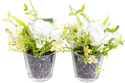 Flora-Seta GmbH künstliches Blumen-Arrangement im Glas (2 Stück) (Creme-Weiß, Rosen-Jasmin)