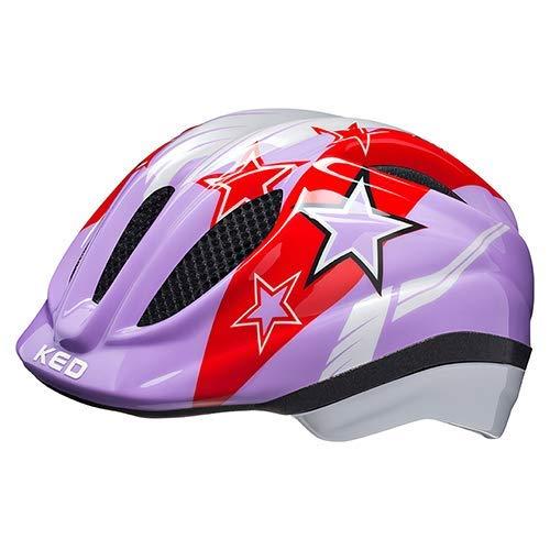 KED Fahrradhelm Meggy II - Kinder- und Jugendhelm in robuster maxSHELL-Technologie und QUICKSAFE-Blinkleuchten - (M (Kopfumfang 52-58 cm), Purple Stars)