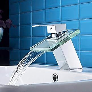 41 fT4FclwL. SS324  - AuraLum Cromo Grifo para Lavabo con Cristal Cascada, Mezclador de Baño Monomando de Una Sola Palanca de Cascada Fregadero, Grifo de Cobre para Baño Cuarto de Baño para Lavabo
