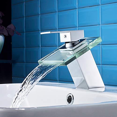 Auralum Grifo para Lavabo Cromo con Cristal Cascada, Mezclador de Baño Monomando de Una Sola Palanca de Cascada Fregadero, Grifo de Cobre para Baño Cuarto de Baño para Lavabo