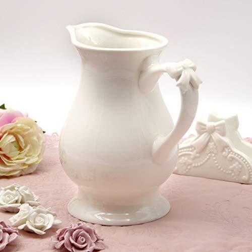 CdCasa Keramik Krug mit Griff, Wasserkrug, Wasserkaraffe, Karaffe, Krug aus Keramik Landhaus Shabby Chic - Schleife - 19x12 - Hell Elfenbein - Keramik