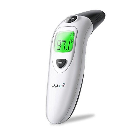 QQcute Ohrthermometer digitales Infrarot Fieberthermometer Stirnthermometer für Baby Kinder Erwachsenen mit Fieber Indikator Haushaltsthermometer höhe Genauigkeit Hintergrundbeleuchtung Stumm-Modus