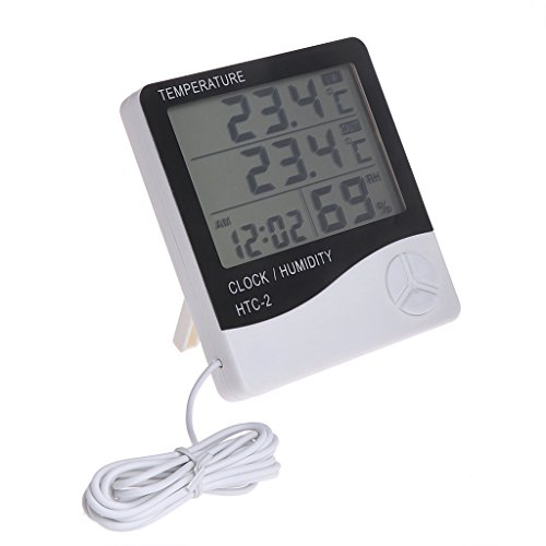 Dchaochao Digitales LCD-Uhr, Temperaturanzeige, Luftfeuchtigkeitsmesser, Uhr, elektronisches Thermometer, Hygrometer, hohe Stabilität und Genauigkeit