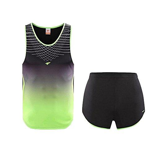 ZEVONDA Damen Herren 2 Stück Gym Fitness Tank Top Ärmellos Weste Shorts Trainingsanzug Jogging Outfit, Schwarz, EU S=Tag M-W, Höhe:150-155cm -
