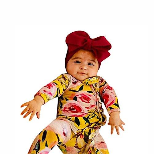 TTLOVE_Baby Unisex Baby 2PCS Bekleidungsset Strampler,TTLOVE Neugeborenes Baby Mädchen Junge Footed Bodys Sleeper Romper Langarmshirt Drucken +Stirnband Kleidung Overall Outfits(Gelb,80) - Fleece Baby Sleeper