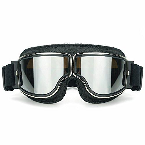 Heinmo Motocross Aviator Ski Motorrad Roller Brille Retro Helmbrille für Harley (Silver lens black padding)