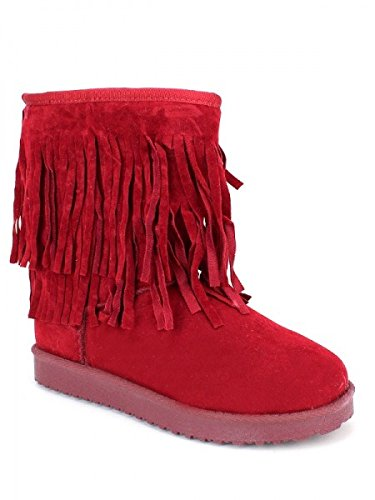 Cendriyon, Boots rouge franges Fourrée LUISA Chaussures Femme Rouge