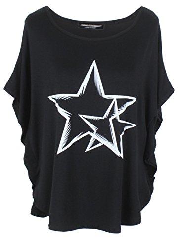 Emma & Giovanni Kimono T-Shirt/Oberteile Kurzarm Elegant - Damen (# Schwarz, XL/XXL)