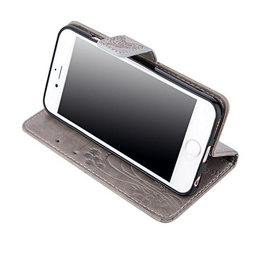 Case iPhone 6S Plus Coque iPhone 6 Plus Anfire Fleur et Papillon Motif Peint Mode Coque PU Cuir pour iPhone 6 Plus Etui Case Protection Portefeuille Rabat Étui Coque Housse pour Apple iPhone 6S Plus / Gris