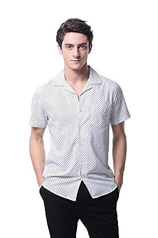 Pau1Hami1ton P-14 Herren Casual Baumwolle Kurzarm Hawaiian Beach Party Aloha Shirt (S, 16) (Calvin Klein Hemdkleid)