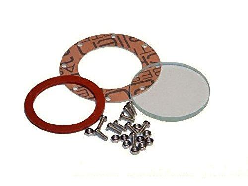 Wilesco - Wasserstandsglas 37 mm, 4 mm Stärke, mit längeren Schrauben, Muttern, Dichtungen - D12, D16, D161, D20, D24 (01548 / 01549)