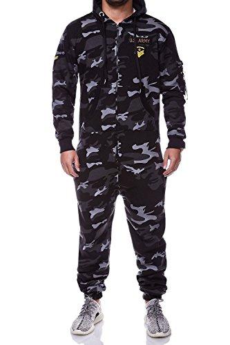 MT Styles Jumpsuit ARMY Camouflage Overall Trainingsanzug R-5105 [Schwarz Camouflage, XL]