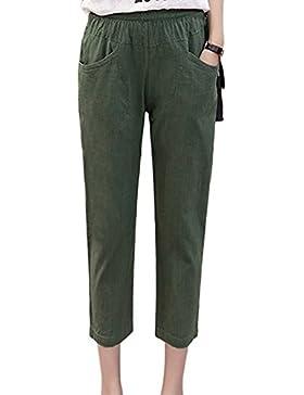 Guiran Donna Vita Elastica Estate Pantalone In Lino Tinta Unita Casual Pantaloni Lunghi Esercito Verde L