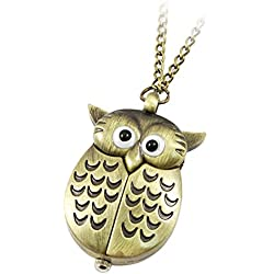 Restly(TM) Lady Bronze Tone Night Owl Shape Pendant Necklace Watch