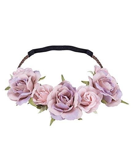 SIX Sommer Haarschmuck, elastisches Haarband, Kopfband, Blumenkranz mit rosa Blüten für Festival, Oktoberfest, Dia de Muertos, Karneval (456-456)