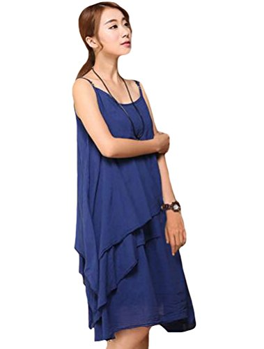 Vogstyle Donna Nuovo Abito Con Orlo Irregolare Per Vacanze Stile-6 Blu