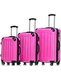 93ca870e7 Beibye – 3 maletas rígidas con ruedas a juego, en 14 colores, rosa.  B06X3SF297