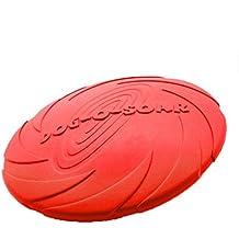 UEETEK Mascotas de seguridad suave juguete Frisbee volar discos juguetes agua Bowl para perros mascotas talla L roja