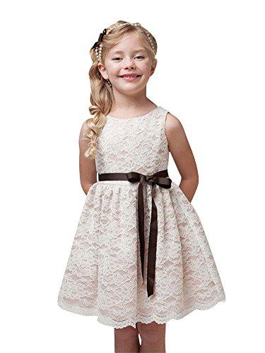 ZongSen-Bambini-Costume-Ragazza-Pizzo-Floreale-Collare-Rotonda-Senza-Maniche-Gilet-Vestito-Solido-Colore-Principessa-Partito-Tut-Beige-90