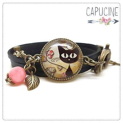 Bracelet 2 tours noir - Bracelet cabochon verre chaton - Bracelet breloques bronze - Chats à l'affût