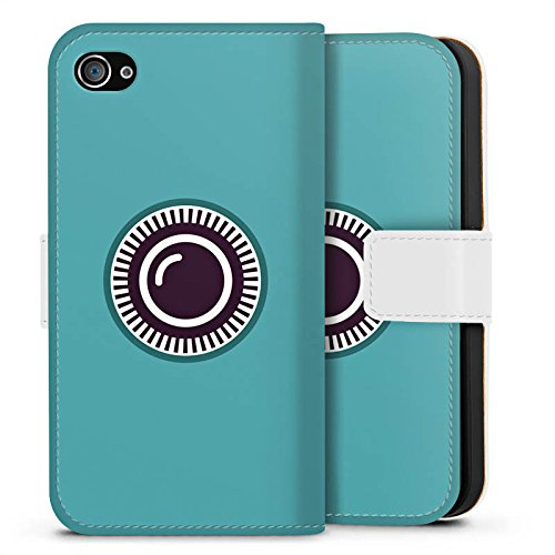 Apple iPhone X Silikon Hülle Case Schutzhülle Kamera Auge Symbol Sideflip Tasche weiß