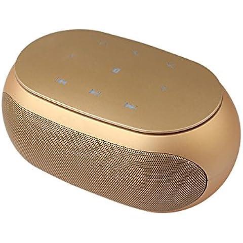 COOSA portátil Bluetooth 3.0 Altavoz inalámbrico Apoyo TF tarjeta AUX Función de entrada con micrófono para llamar (oro, bonito)