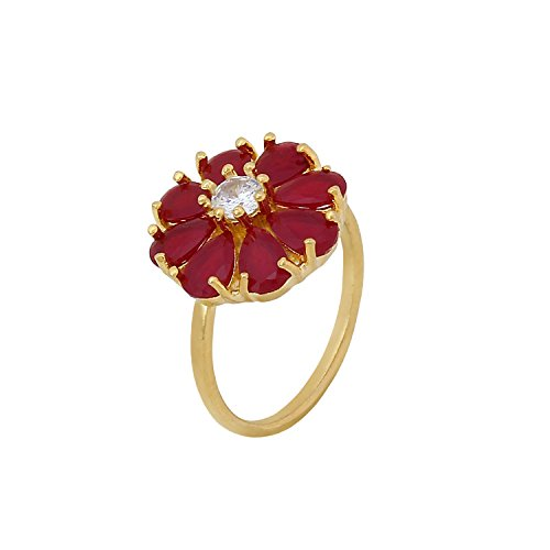 Cardinal American Diamond Adjustable Valentine Gift Stylish Party Wear Ruby Ring For Women/Girl  available at amazon for Rs.225