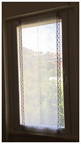 Coppia di tende a vetro shabby chic finestre pannelli misto lino 60x150 bianco bordi laterali colore grigio con cuoricini - Pannello Di Vetro Del Pannello Della Finestra