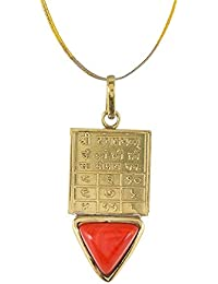 Sumitra Gems Handmade Designer Natural Triangle Red Coral Moonga With Mangal Yantra Golden Panchdhatu Alloy Pendant