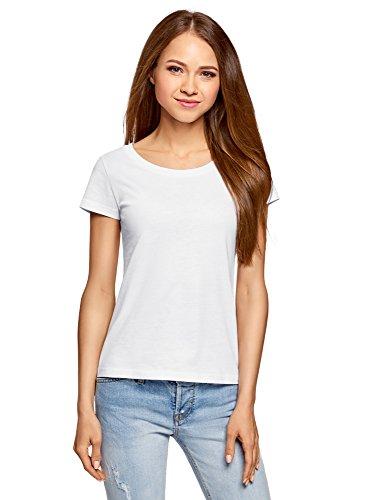 oodji Ultra Damen T-Shirt Basic Aus Baumwolle, Weiß, DE 36/EU 38/S (Größe 16 Kurze Damen Jeans)