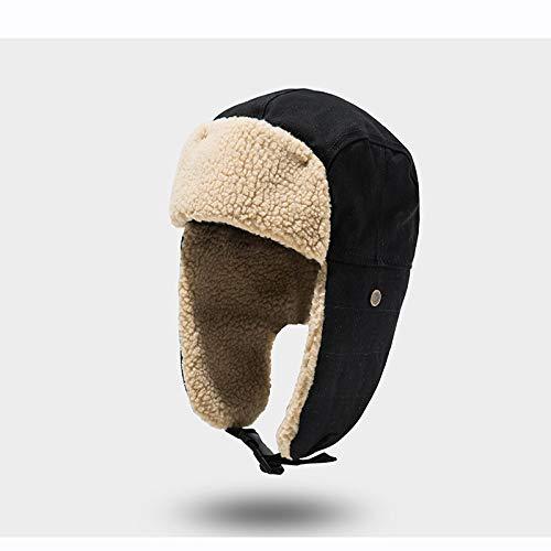 LIUJIAXIW Hut Fliegermütze für Herren, Kaschmir, russische Ohrenklappe, Wintermütze Gr. Einheitsgröße, Schwarz