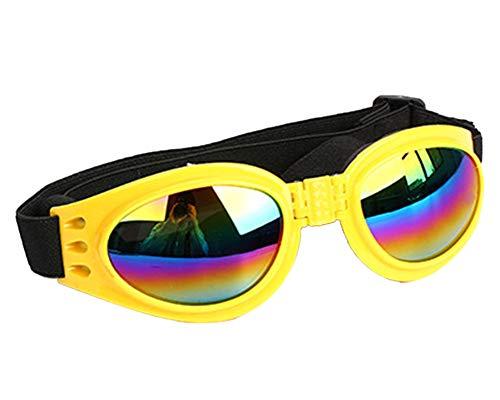ZhuikunA Haustier-Hundeschutzbrillen UV-Sonnenbrille Winddichter Hündchen Eyewear Goggles Gelb