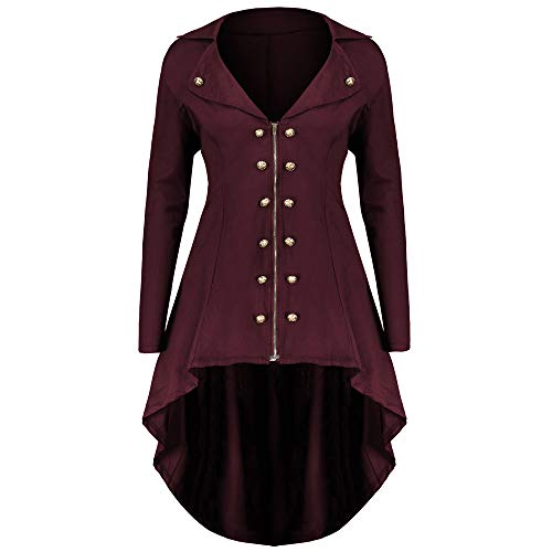 MIRRAY Damen Mode Knopf Reißverschluss Mantel Tunika Plus -