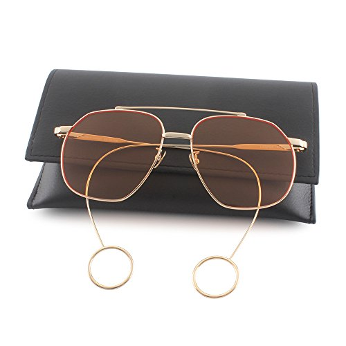 day spring online shop Flat Lenses Novelty RENONER LOOPER Earring Design Fashion Metal Frame Unisex Ring Sunglasses - gold frame yellow lens