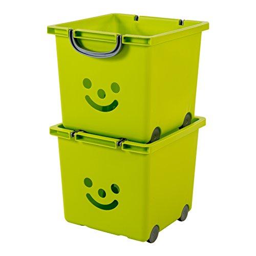 IRIS, 2er-Set Würfelboxen \'Smiley Kids Boxes\', KCB-32, Kunststoff, mit Rollen, pistaziengrün, 33 x 32 x 29 cm