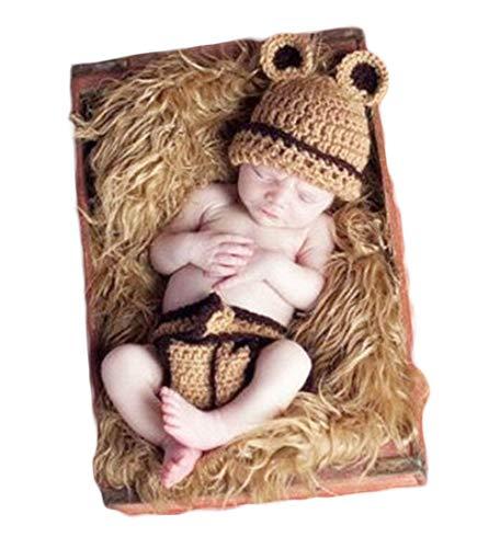 Neugeborenes Baby Mädchen häkeln Kostüm Outfits Fotografie Requisiten Braun Bär Hut+Hose 0-6 ()